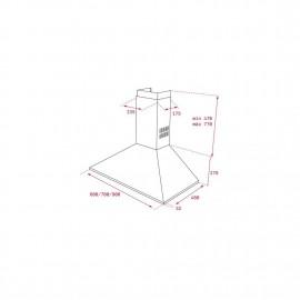 Campana Piramidal de pared de 70 cm con mandos pulsantes